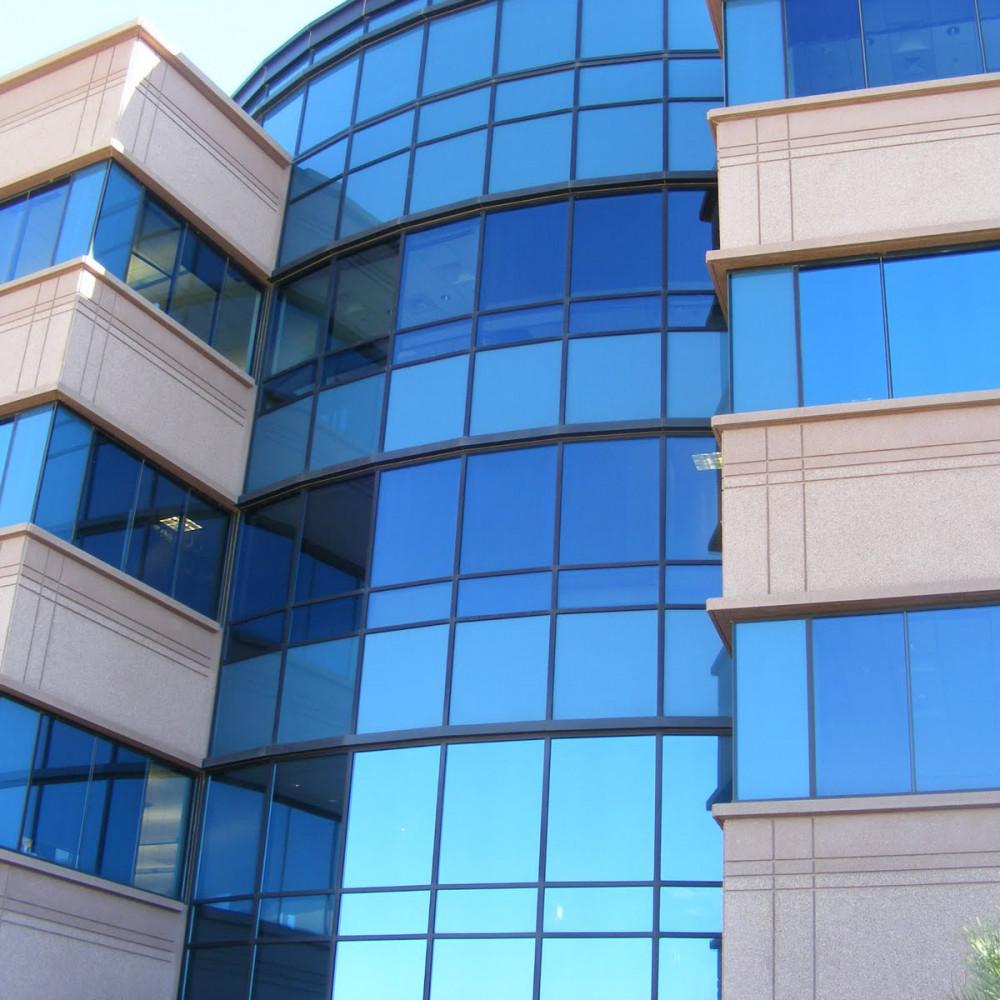 Blue Reflective Double-Pane Glass