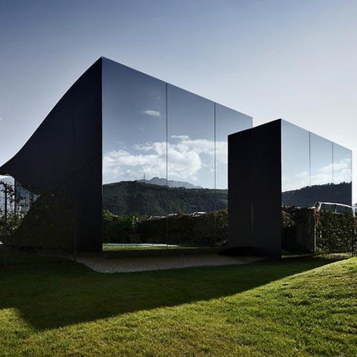 Gray Reflective Double-Pane Glass